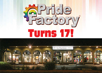 Pride Factory Turns 17 outside banner